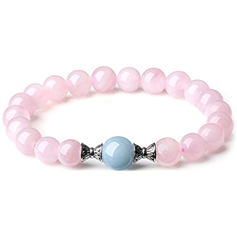 COAI®Ladies Semi-Precious Rose Quartz and Aquamarine Gemstone Positive Thinking Healing Bracelet