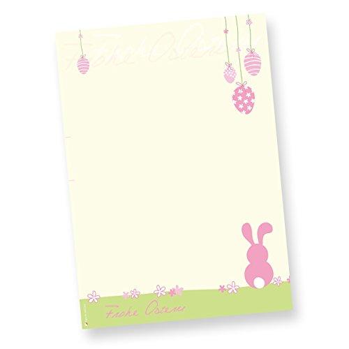 Schreibpapier Ostern rosa (50 Stück) Motivpapier DIN A4 farbig, NEU: inkl. 3 Oster-Postkarten
