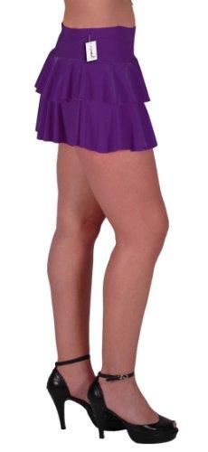 EyeCatch TM - Amber gekräuselter hautenger Neon Minirock Rock Partyrock Purple