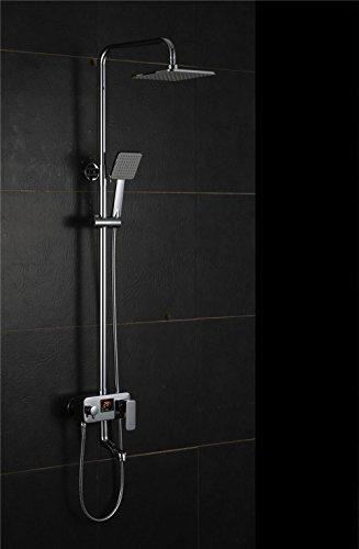 NIHE Ensemble de douche en chrome poli Robinet à eau de température Affichage numérique Mélangeur de douche Tap Mélangeurs de baignoire Douchette de douche - Garantie de 5 ans