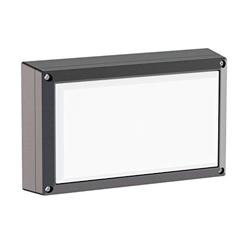 ledscom.de Wandleuchte Tabit eckig Aluminium für außen, schwarz, inkl. 2X GX53 6,3W Lampe weiß -