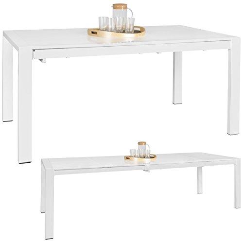 WOHNLING Esszimmertisch GLORY 160 x 76 x 90 cm ausziehbar hochglanz weiß Metall Holz   Küchentisch für 8 - 10 Personen   Design Esstisch rechteckig um 2 x 50 cm erweiterbar