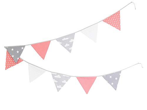 ULLENBOOM ® Wimpelkette Coral Wolken (Stoff-Girlande: 3,25 m, 10 Wimpel, farbenfrohe Deko für Kinderzimmer & Baby Geburtstage, Motiv: Sterne)