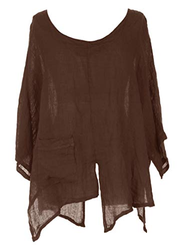 TEXTURE Ladies Womens Italian Lagenlook V Cutout Hem Batwing Linen Tunic Top Blouse One Size Plus (Dark Brown, One Size) -