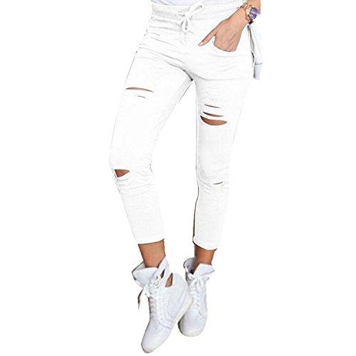 Burgund Gerippt (Live It Style It Damen dehnbar verblichen gerippt Enge Passform Skinny Jeggings Jeanshose Damen-Hosen - Weiß, Large)