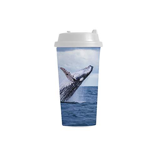 Buckelwal Tauchen Netter Taucher kundenspezifischer personalisierter Druck 16 Unze Doppelwand Plastikisolierte Sportwasser Flaschen Schalen Pendler Reise Kaffeetassen für Studenten Frauen Milch