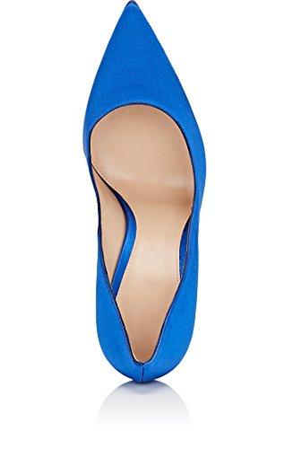 EDEFS Scarpe con Tacco Donna - High Heels - Tacco a Spillo - Satin Scarpe Donna Blue
