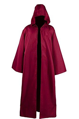 Unisex Umhang Robe Kapuze Ritter Kost¨¹m Halloween Karneval Party - Rote Robe Kostüm