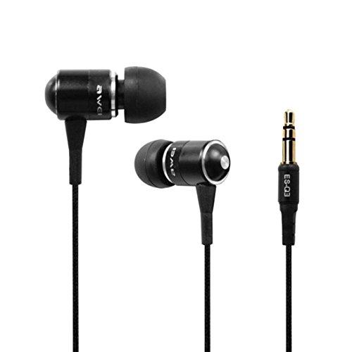 Preisvergleich Produktbild Prevently In-Ear verdrahtete Kopfhörer Kabelgebundener Kopfhörer Awei ES-Q3 3, 5 mm Klinke Stereo HiFi In-Ear-Kopfhörer-Kopfhörer für Telefon-PC Ohrhörer Noise Cancelling Ohrhörer (Schwarz)