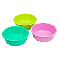 Re-Play Made in The USA 3pk Bowls for Easy Baby, Toddler, and Child Feeding - Purple, Aqua, Green (Mermaid)