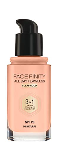 Max Factor Facefinity All Day Flawless 3-in-1 Liquid Foundation, Lightweight Oil Free Formula with SPF 20 Formula and Matte Finish, 050 Natural, 30 ml