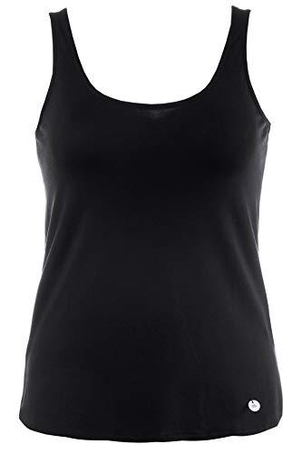 GINA LAURA Damen, Uni, Abgerundeter Saum Top, Schwarz (Black 10), X-Large (Herstellergröße: XL) -