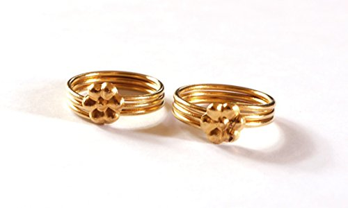 Daily Use Metal Alloy (Panchaloha) Toe Ring for Women- 3 Rounds with Flower on Top