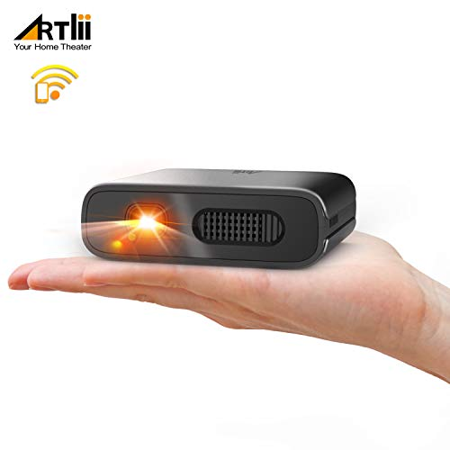 *Artlii Mana Mini Beamer – WiFi Beamer DLP mit Eingebaute 5200mAh Akkus Klein Projektor unterstützt 3D Film und Airplay Miracast, Heimkino Beamer Kompatibel mit iPhone/Android Smartphone/Laptop*