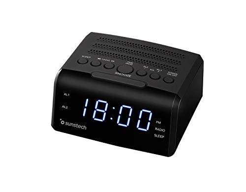 Sunstech FRD35U - Radio despertador alarma dual, pantalla
