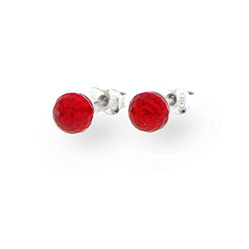 Ana Morales Boucles d'oreilles en argent Sterling 925 avec cristaux Swarovski Pour femme rouge