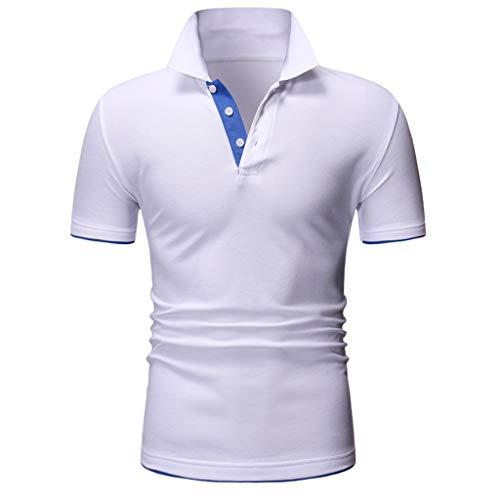 ZHANSANFM Poloshirt Herren Stehkragen Kurzarm Polohemd Polo Shirts Button Down Basic Casual Tops mit Polokragen T-Shirt Freizeit Fitness Muskelshirt Modern Regular Fit Elegant (XL, Weiß) - LangÄrmeliges Stretch-crewneck