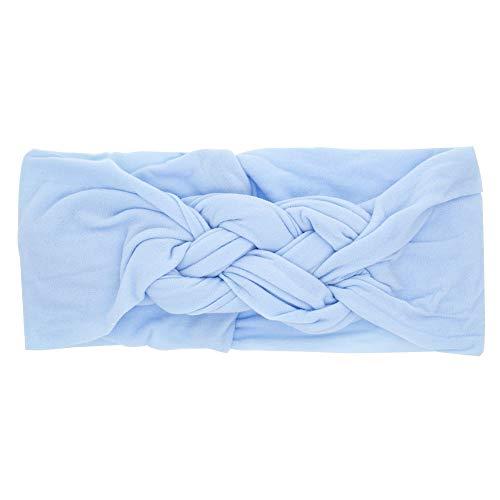 Ao Tuo Haarband, chinesischer Knoten, für Mädchen-Schmuck, einfarbig, weich, elastisch, für Neugeborene 17 * 7.5 * 2 hellblau