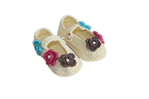 Cross Knitt 6 - 12 Months Off White Woolen Baby Flower Booties