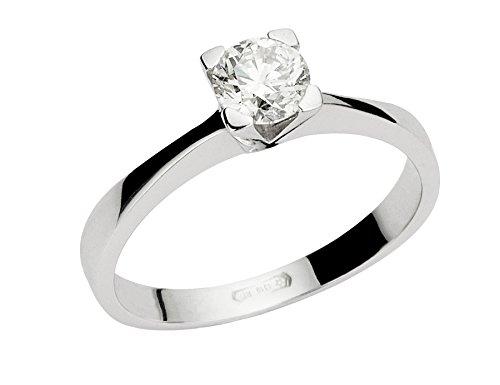 Anello solitario in oro bianco 18 k e diamanti 0,09 ct