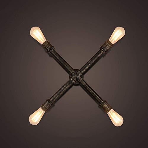 WHKHY Appliques, Loft Retro Warehouse Factory Restaurant Bar Escaliers Lampes et lanternes d'éclairage Applique Head Lines 4 E 27, 55 * 55 cm de New,55 * 55cm