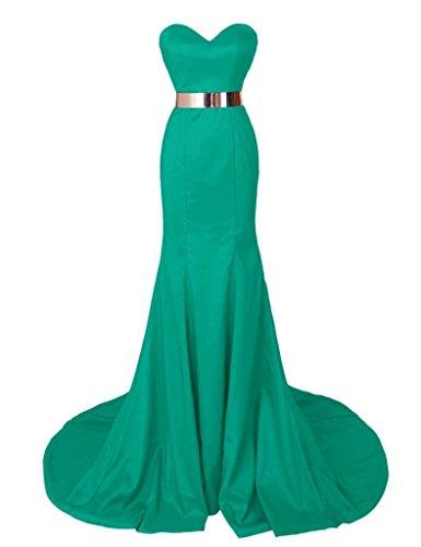 Olidress Women's Strapless Sweetheart Satin Evening Dress Party Dress Green US2 (Satin Kleider Sweetheart Strapless)