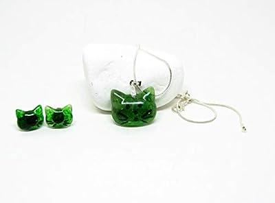 Collier pendentif chat et boucles d'oreilles vert - Ensemble collier et boucles d'oreilles chat -Parure Bijoux chat en résine