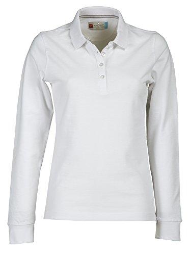 Damen Langarm Polohemd Baumwoll Piquet Polo-Shirt Longsleeve Modell Florence White M