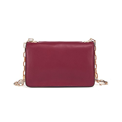 Donna Pelle Lotta A Colori Slot Multi-Card Singola Spalla Crossbody Bag. WineRed