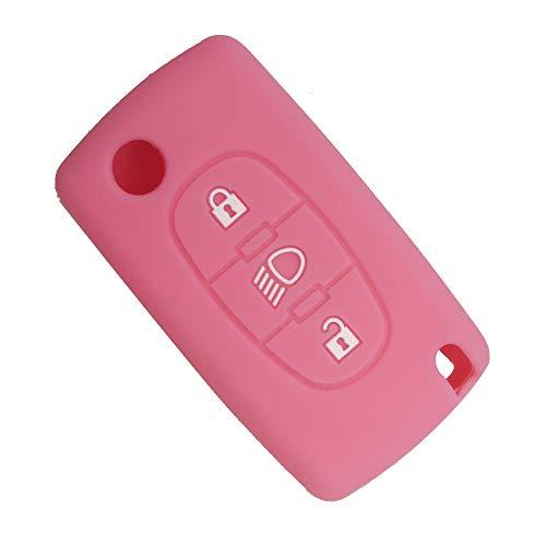 ALPGTR Autoschlüssel-Abdeckung mit 3 Tasten aus weichem Silikon für Citroen C2 C3 C4 Picasso Xsara C5 C6 C8, D