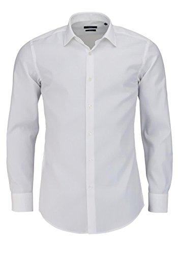 Hugo Boss Slim Fit Hemd Langarm Jenno Popeline Weiß Größe 44
