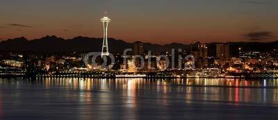 Poster Skyline Von Seattle (Poster-Bild 140 x 60 cm: