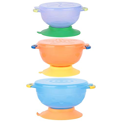 3 STÜCKE Baby Starke Saugnapf Schalen Kleinkind Schalen Baby Fütterungsset Geschirr Set Baby Fütterung Zubehör Kinder Geschenk für Baby über 3 Jaher alt -