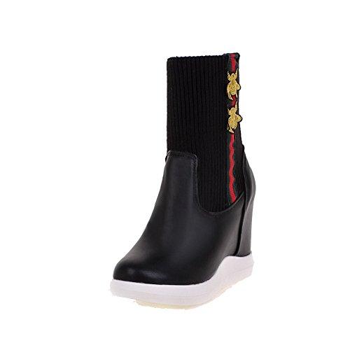 VogueZone009 Damen Weiches Material Gemischte Farbe Niedrig-Spitze Hoher Absatz Stiefel, Rot, 41