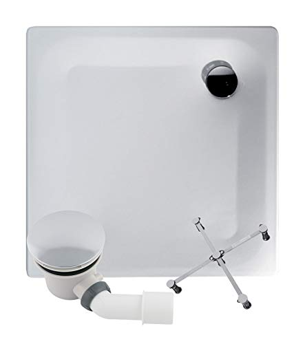 Calmwaters® - Föhr - Bodengleiche Dusche in 90 x 90 x 2,5 cm im Komplettset mit Wannenfuß und Ablaufgarnitur - 99000015