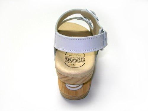 2105 a White Sandale Anatomisch Mit Feder Luver Ivqgw