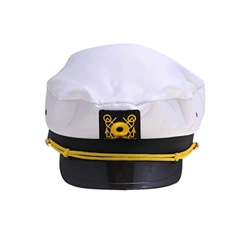 Kostüm Weiß Navy - Amosfun Kapitänsmütze Einstellbare Marine Mütze Nautisch Segeln Hüte Halloween Navy Kostüm Zubehör für Erwachsene (Weiß)