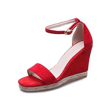 LvYuan Sandali-Ufficio e lavoro Formale Serata e festa-Club Shoes-Zeppa-Cashmere-Nero Rosso Red