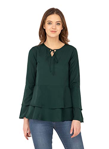 Karmic Vision Women's Crepe Green Casual Top
