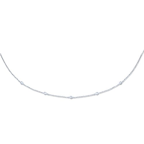 9ct or blanc diamant par la cour Chaîne avec CZ Collier