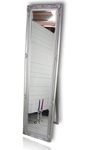 elbmöbel Standspiegel groß antik Spiegel mit Fuß Badspiegel Schminkspiegel Frisierspiegel Ankleidespiegel in Weiss (Silber, 160 x 40 cm)