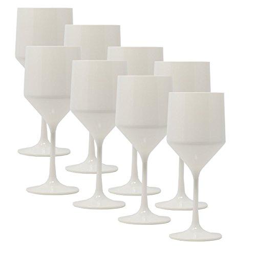 Weinkelch polycarbonat weiß 22 cm - 8 Stück