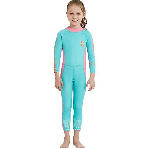 Suncaya Kinder Badeanzug UV-Schutz UPF 50+ Mädchen Einteiliger Schwimmen Wear Lange Ärmel Lange Hose Neopren schnell trocknend Wassersport Neoprenanzüge Alter 2-12 Jahre alt