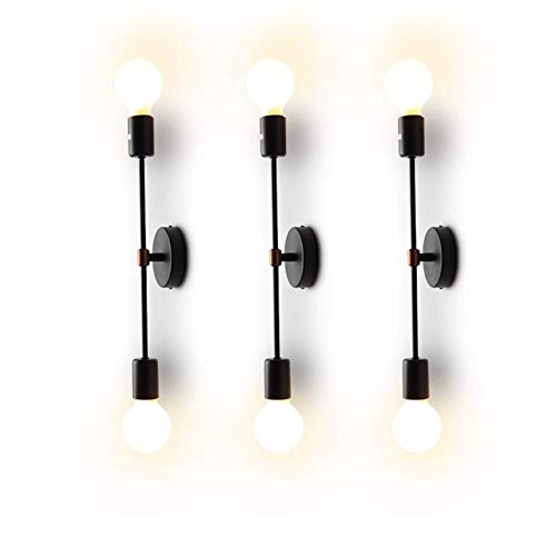 XIHOME Minimalista Negro 2 luces LED Lámpara de pared arriba/abajo Lámpara de interior, 180 ° Ajustable...