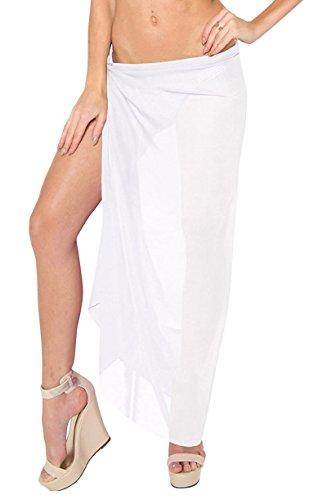 Damen Strandkleider,Sexy Strandrock (Pareo Weiß)
