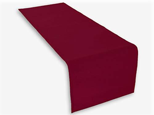 Lemos Home Tischläufer aus Baumwolle 45x150 mm, Weinrot, 45x150 cm