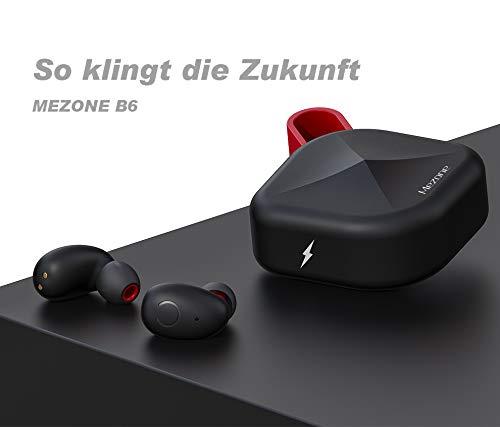 MEZONE TWS-B6 aptX In-Ear Kopfhörer,Bluetooth 5.0 Ohrhörer mit aptX qualifiziert ausgezeichnete Soundqualität, Nano Wasserdicht, Musik und telefonieren, bis zu 80 Std. Akkulaufzeit mit Ladecase