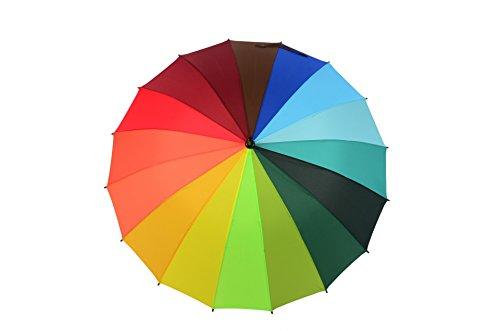 SSBY Paraguas con mango largo y paraguas semiautomático de arcoíris para publicidad color