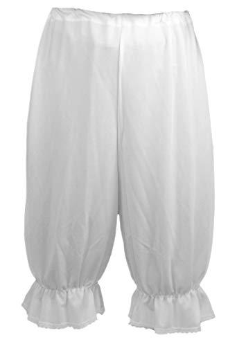 Panto Dress Fancy Kostüm - Traditionelles viktorianisches Kleid mit Spitze Gr. L(Taille 25-27Inch), Weiß, Spitzenstoff