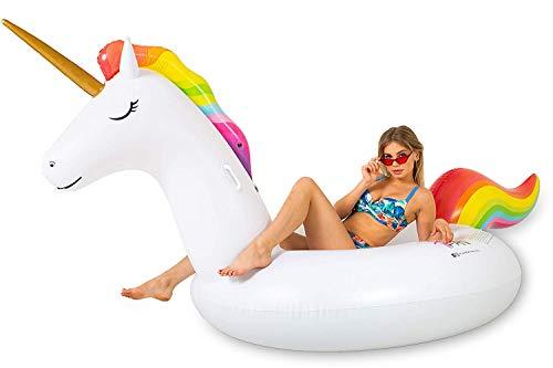 SummerFan Flotador Unicornio Gigante 290cm XXL - Unicornio Hinchable para Piscina, Colchoneta